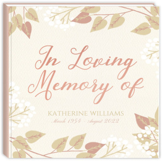 Elegant Foliage Funeral Guest Book
