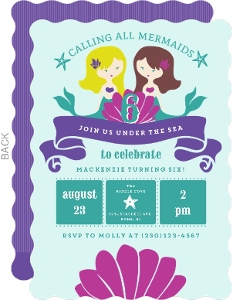 Mermaid Friends Kids Birthday Party Invitation