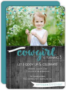 Teal Confetti Cowgirl Kids Birthday Invitation