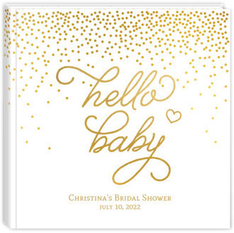 Faux Gold Hello Baby Shower Guest Book