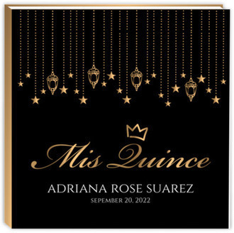 Golden Hanging Lights Quinceanera Guest Book