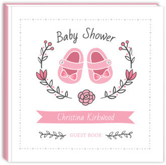 Pink Shoes Wreath Baby Shower Guest Book