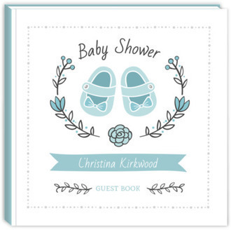 Blue Shoes Wreath Baby Shower Guest Book