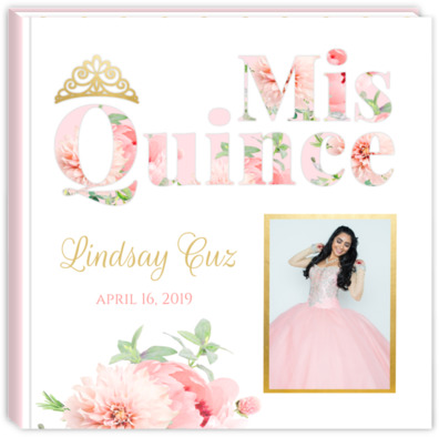 5a15fc8878 Delicate Pink   Gold Quinceanera Guest Book