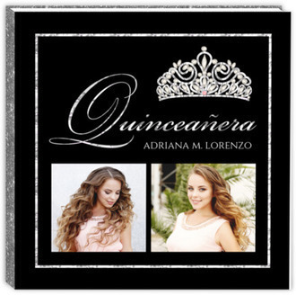 Faux Sparkly Diamond Quinceanera Guest Book