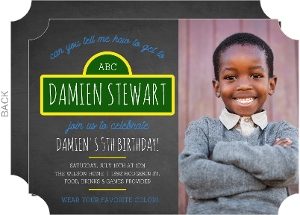 Chalkboard Street Sign Kids Birthday Invitation