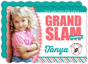 Pink And Turquoise Softball Birthday Party Invitation