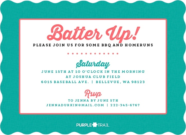 pink and turquoise softball birthday party invitation kids