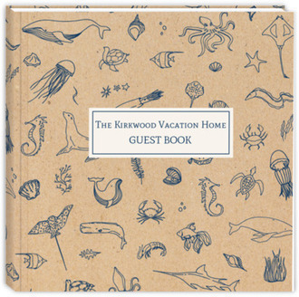 Sketched Ocean Life Vacation Guest Book