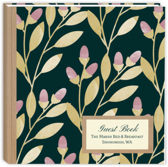Floral Watercolor Leaves & Kraft Vacation Home Guest Book