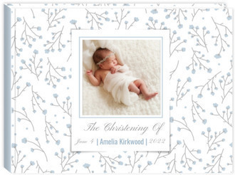 Delicate Cotton Flowers Christening Guest Book