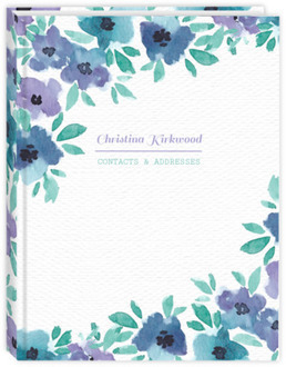 Blue Watercolor Flowers Address Book