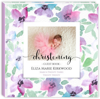 Elegant Pink & Purple Watercolor Flowers Christening Guest Book