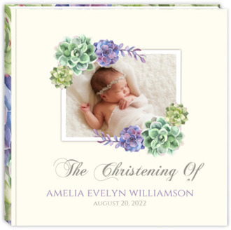Beautiful Succulents Christening Guest Book