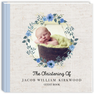 Delicate Blue Floral Wreath Christening Guest Book