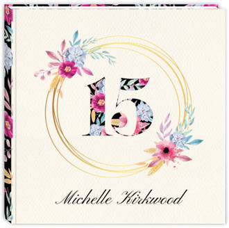 Bright Watercolor Floral Wreath & Pattern Birthday Guest Book