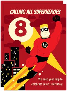 Calling All Superheroes Birthday Party Invitation