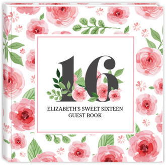 Pink Watercolor Floral 16th Birthday Guest Book