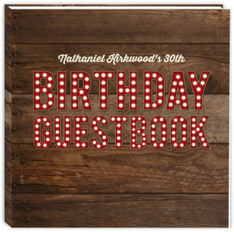Red Marquee Lettering Birthday Guest Book