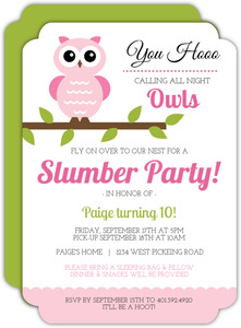 Whimsical Pink Owl Slumber Birthday Party Invitation