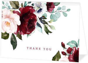 Elegant Burgundy Florals Thank You Card