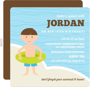 Blue And Brown Waves Pool Party Invitations