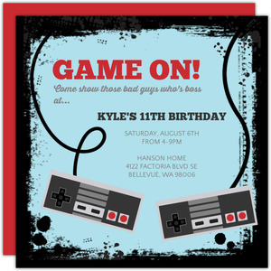 Video Game Controllers Kids Birthday Invitation