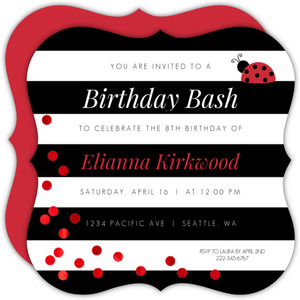 Black & White Stripes Ladybug Birthday Invitation