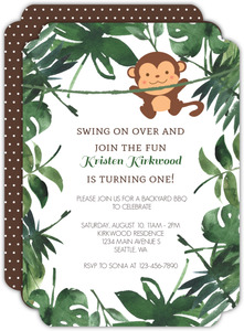 Swinging Monkey Kids Birthday Invitation