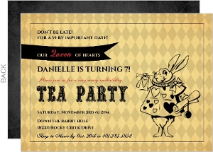 Rustic Yellow Mad Hatter Childrens Tea Party Birthday Invitation