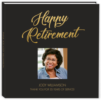Faux Foil Happy Retirement Guest Book