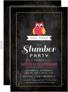 Chalkboard Pink Owl Slumber Party Birthday Invitation