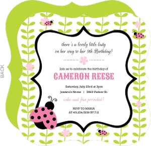 Pink And Green Flower Vines Ladybug Birthday Invitation