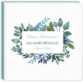 Blue & Green Watercolor Foliage Frame Retirement Guest Book