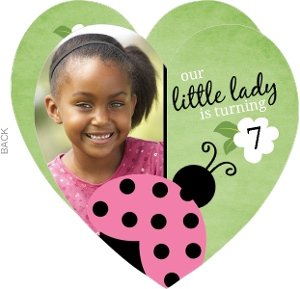 Green Flower Ladybug Birthday Invitation