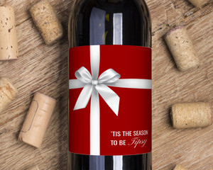 Red & White Wrapped Gift Wine Label