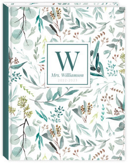 Elegant Watercolor Foliage Pattern Teacher Planner