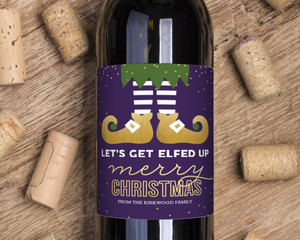 Get Elfed Up Holiday Wine Label