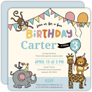 Fun Monkey Friends Birthday Party Invitation