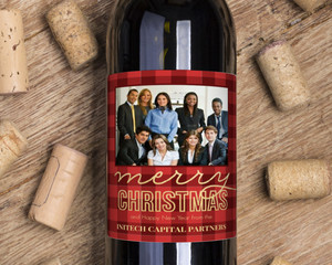 Faux Foil Red Plaid Business Holiday Wine Label