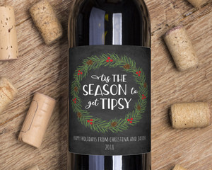 Season To Get Tipsy Wine Label