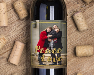 Festive Peace And Love Wine Label