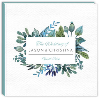 Blue & Green Watercolor Foliage Frame Wedding Guest Book