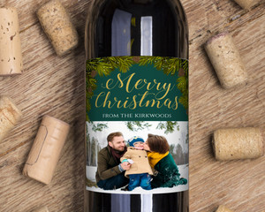 Faux Gold Foil Merry Christmas Wine Label