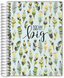 Green Feather Pattern Student Planner 6x8