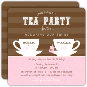 Brown and Pink Twins Tea Party Birthday Invitation