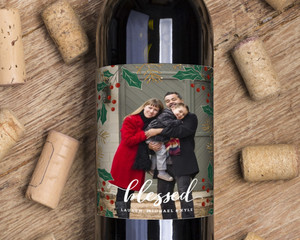 Full Photo Holly Decor Wine Label
