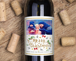 Faux Glitter and Photo Christmas Wine Label