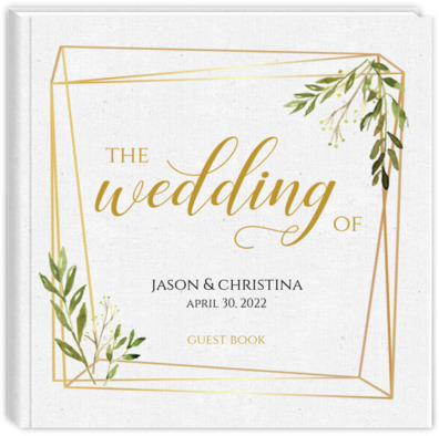 Faux Gold Frame Leaves Wedding Guest Book | Wedding Guest Books