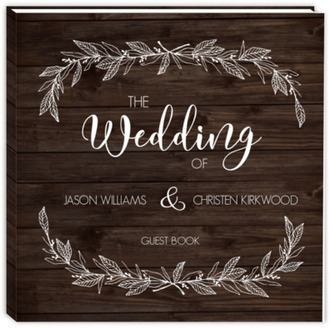 White Rustic Leaves Wedding Guest Book